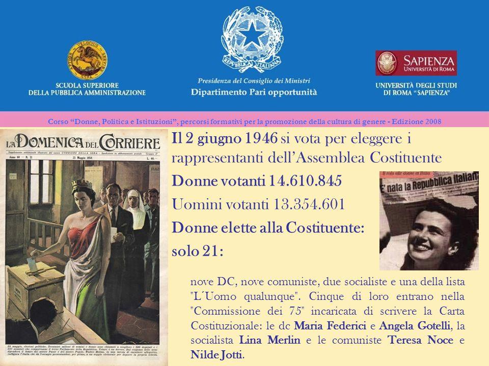 Corso Donne, Politica e Istituzioni, percorsi formativi per la promozione della cultura di genere - Edizione 2008 Il 2 giugno 1946 si vota per elegger