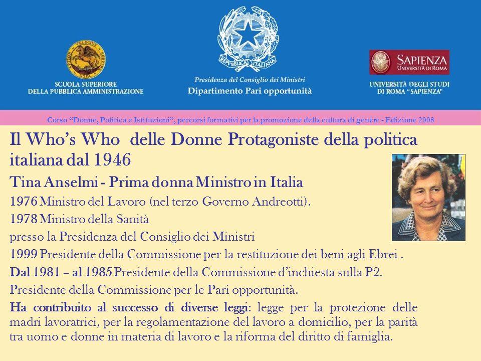 Corso Donne, Politica e Istituzioni, percorsi formativi per la promozione della cultura di genere - Edizione 2008 Il Whos Who delle Donne Protagoniste