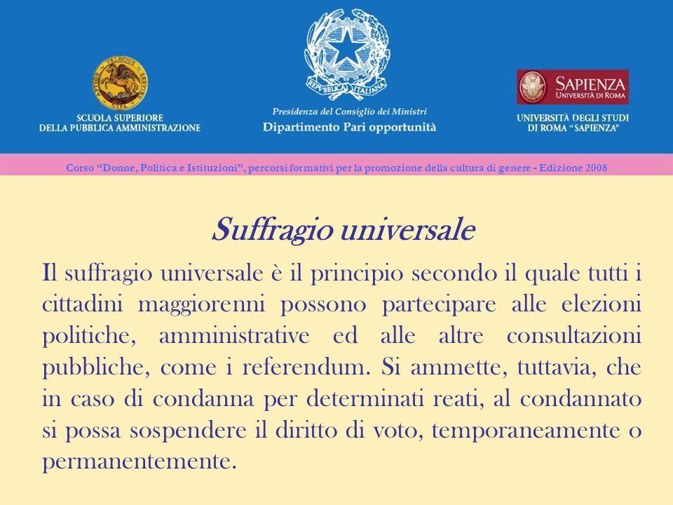 Corso Donne, Politica e Istituzioni, percorsi formativi per la promozione della cultura di genere - Edizione 2008 Il suffragio universale è il princip