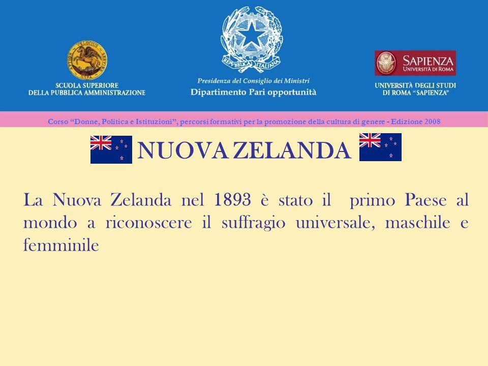 Corso Donne, Politica e Istituzioni, percorsi formativi per la promozione della cultura di genere - Edizione 2008 NUOVA ZELANDA La Nuova Zelanda nel 1