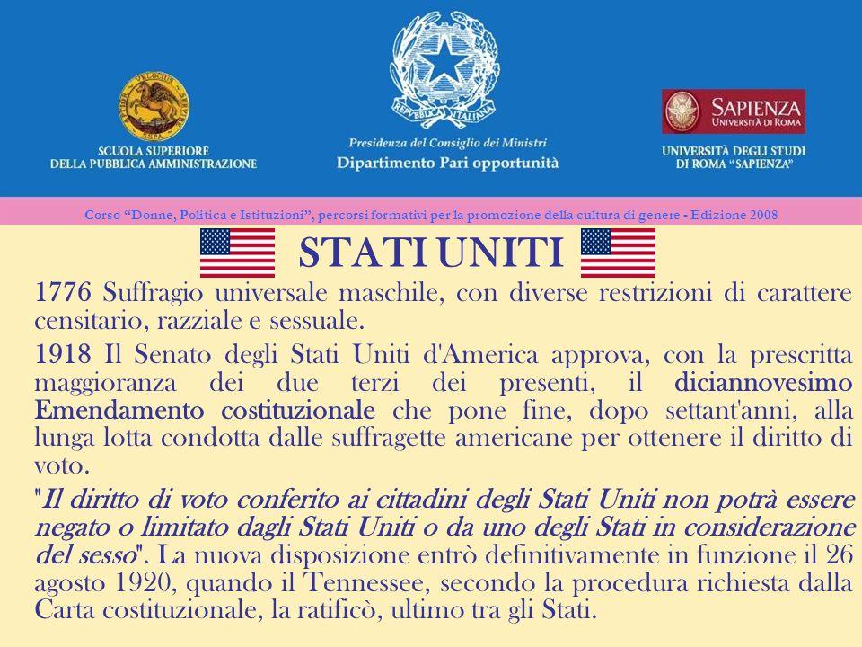 Corso Donne, Politica e Istituzioni, percorsi formativi per la promozione della cultura di genere - Edizione 2008 STATI UNITI 1776 Suffragio universal