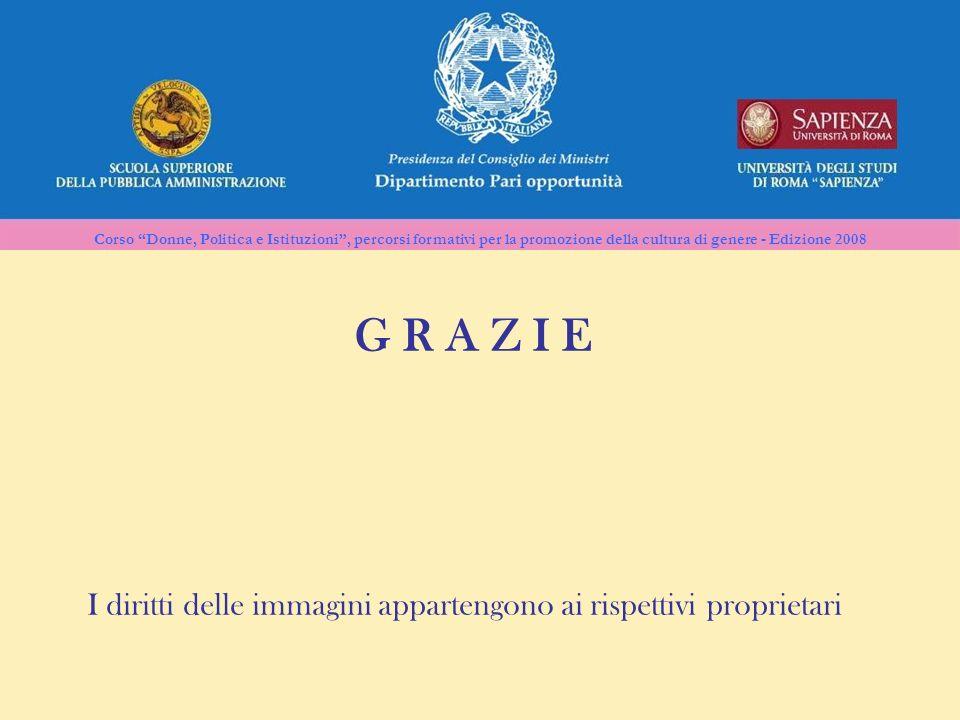 Corso Donne, Politica e Istituzioni, percorsi formativi per la promozione della cultura di genere - Edizione 2008 G R A Z I E I diritti delle immagini