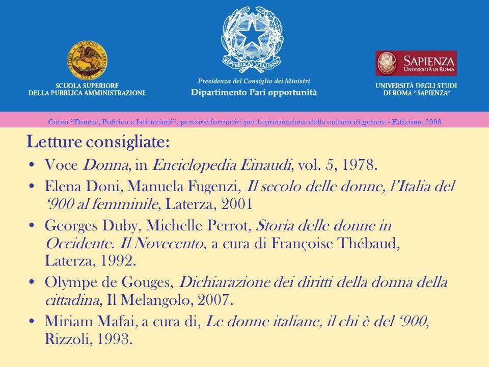 Corso Donne, Politica e Istituzioni, percorsi formativi per la promozione della cultura di genere - Edizione 2008 Letture consigliate: Voce Donna, in