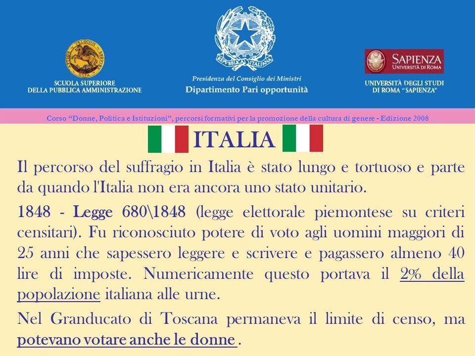 Corso Donne, Politica e Istituzioni, percorsi formativi per la promozione della cultura di genere - Edizione 2008 ITALIA Il percorso del suffragio in