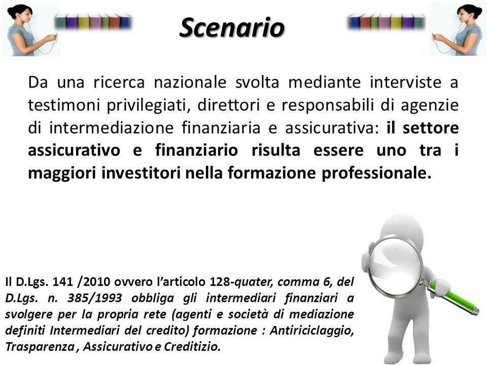 Scenario Da una ricerca nazionale svolta mediante interviste a testimoni privilegiati, direttori e responsabili di agenzie di intermediazione finanzia