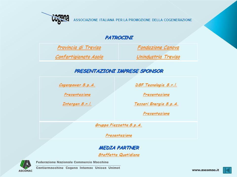 Federazione Nazionale Commercio Macchine Cantiermacchine Cogena Intemac Unicea Unimot www.ascomac.it ASSOCIAZIONE ITALIANA PER LA PROMOZIONE DELLA COGENERAZIONE MEDIA PARTNER Staffetta QuotidianaPATROCINI Provincia di Treviso Confartigianato Asolo Fondazione Canova Unindustria Treviso PRESENTAZIONI IMPRESE SPONSOR Cogenpower S.p.A.
