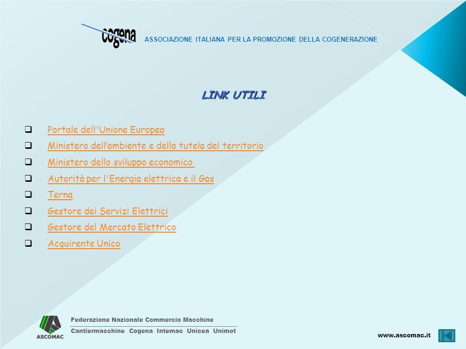 Federazione Nazionale Commercio Macchine Cantiermacchine Cogena Intemac Unicea Unimot www.ascomac.it ASSOCIAZIONE ITALIANA PER LA PROMOZIONE DELLA COGENERAZIONE LINK UTILI Portale dell Unione Europea Ministero dellambiente e della tutela del territorio Ministero dello sviluppo economico Autorità per l Energia elettrica e il Gas Terna Gestore dei Servizi Elettrici Gestore del Mercato Elettrico Acquirente Unico