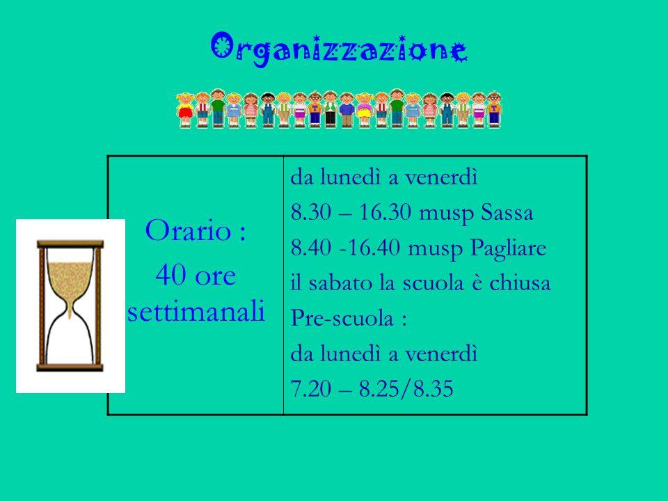 Organizzazione Orario : 40 ore settimanali da lunedì a venerdì 8.30 – 16.30 musp Sassa 8.40 -16.40 musp Pagliare il sabato la scuola è chiusa Pre-scuola : da lunedì a venerdì 7.20 – 8.25/8.35
