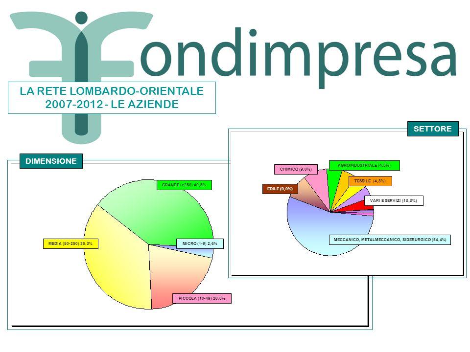 GRANDE (>250) 40,3% MEDIA (50-250) 36,3% PICCOLA (10-49) 20,8% MICRO (1-9) 2,6% MECCANICO, METALMECCANICO, SIDERURGICO (54,4%) EDILE (9,0%) CHIMICO (9,0%) VARI E SERVIZI (18,8%) AGROINDUSTRIALE (4,5%) TESSILE (4,3%) DIMENSIONE SETTORE LA RETE LOMBARDO-ORIENTALE 2007-2012 - LE AZIENDE