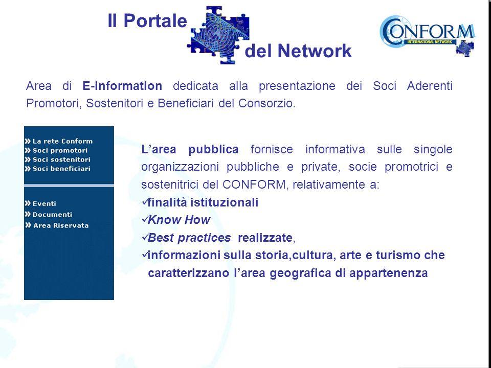 Area di E-information dedicata alla presentazione dei Soci Aderenti Promotori, Sostenitori e Beneficiari del Consorzio.