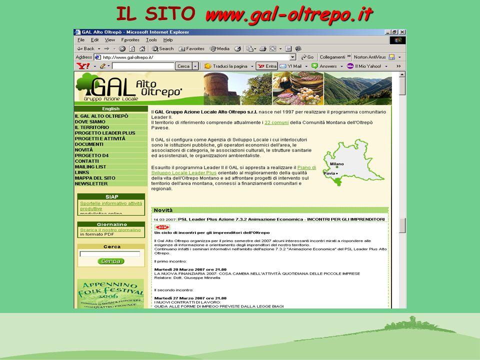 www.gal-oltrepo.it IL SITO www.gal-oltrepo.it