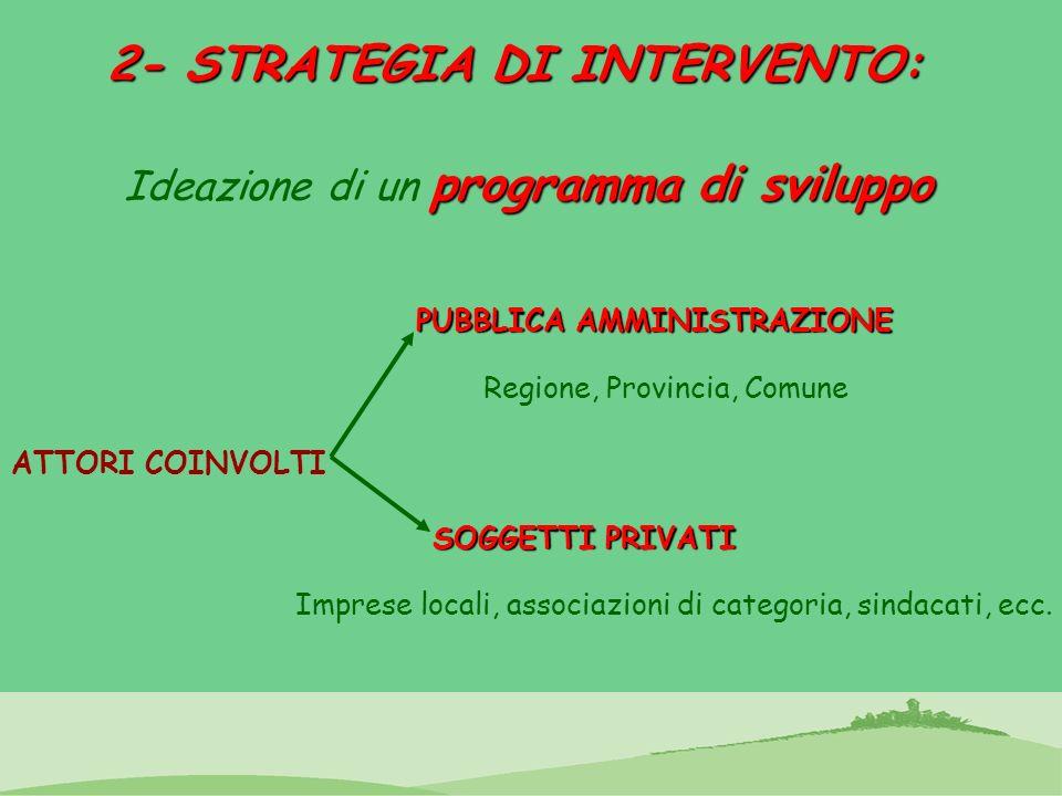 2- STRATEGIA DI INTERVENTO: programma di sviluppo Ideazione di un programma di sviluppo ATTORI COINVOLTI PUBBLICA AMMINISTRAZIONE Imprese locali, asso