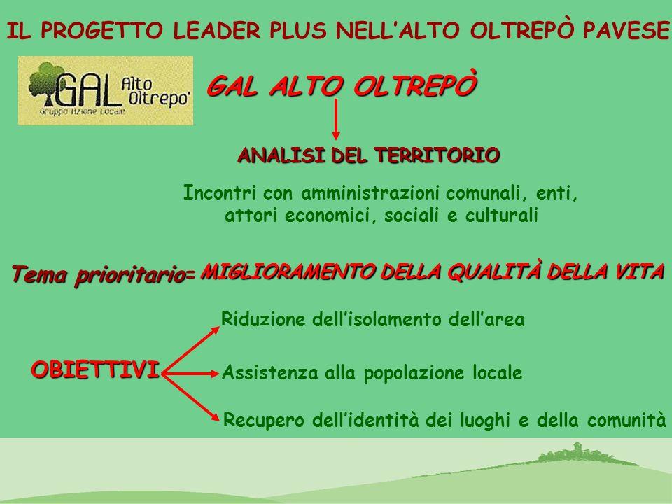 IL PROGETTO LEADER PLUS NELLALTO OLTREPÒ PAVESE Tema prioritario Tema prioritario= MIGLIORAMENTO DELLA QUALITÀ DELLA VITA OBIETTIVI Riduzione dellisol