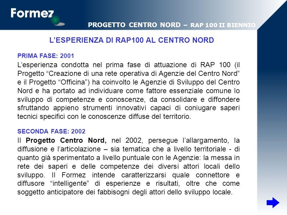 Lesperienza condotta nel prima fase di attuazione di RAP 100 (il Progetto Creazione di una rete operativa di Agenzie del Centro Nord e il Progetto Off