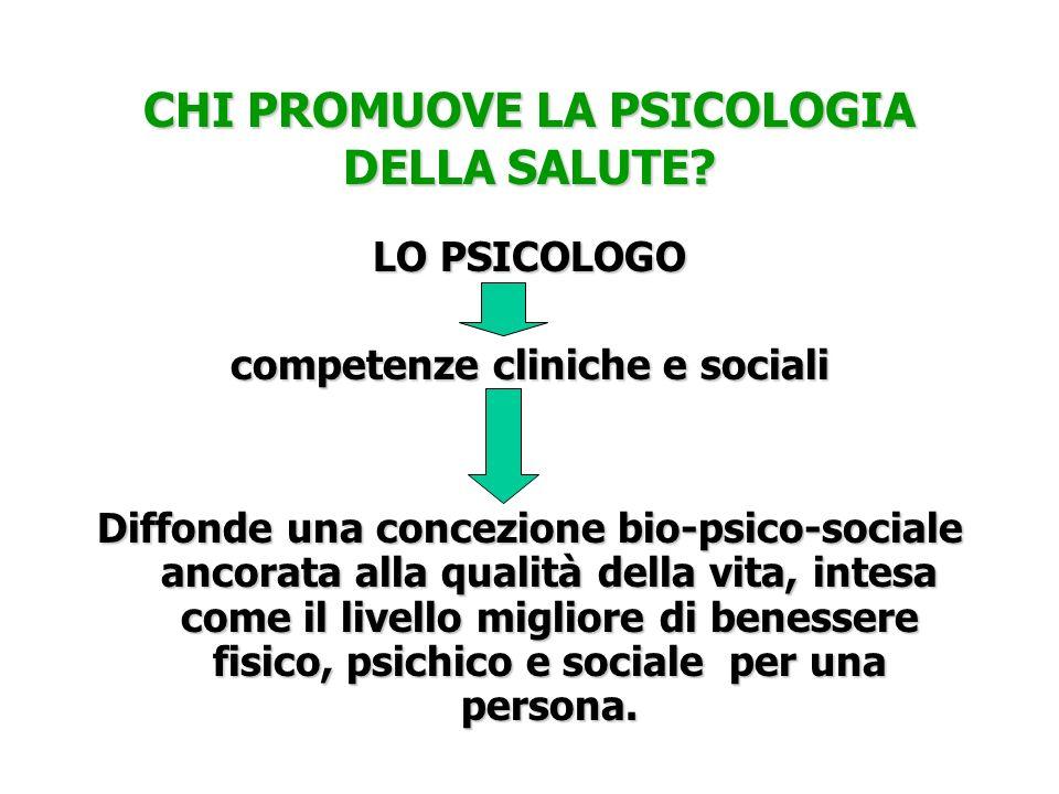CHI PROMUOVE LA PSICOLOGIA DELLA SALUTE? LO PSICOLOGO competenze cliniche e sociali Diffonde una concezione bio-psico-sociale ancorata alla qualità de