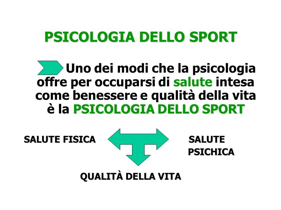 PSICOLOGIA DELLO SPORT PSICOLOGIA DELLO SPORT Uno dei modi che la psicologia offre per occuparsi di salute intesa come benessere e qualità della vita
