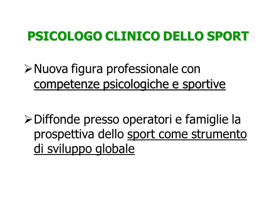 PSICOLOGO CLINICO DELLO SPORT competenze psicologiche e sportive Nuova figura professionale con competenze psicologiche e sportive Diffonde presso ope