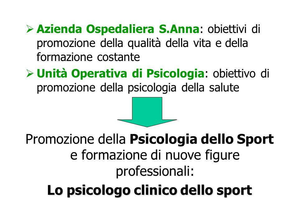 Azienda Ospedaliera S.Anna: obiettivi di promozione della qualità della vita e della formazione costante Unità Operativa di Psicologia: obiettivo di p