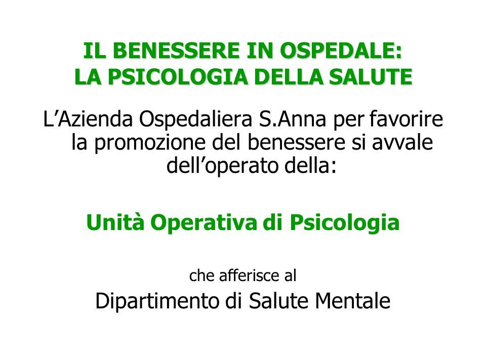 IL BENESSERE IN OSPEDALE: LA PSICOLOGIA DELLA SALUTE LAzienda Ospedaliera S.Anna per favorire la promozione del benessere si avvale delloperato della:
