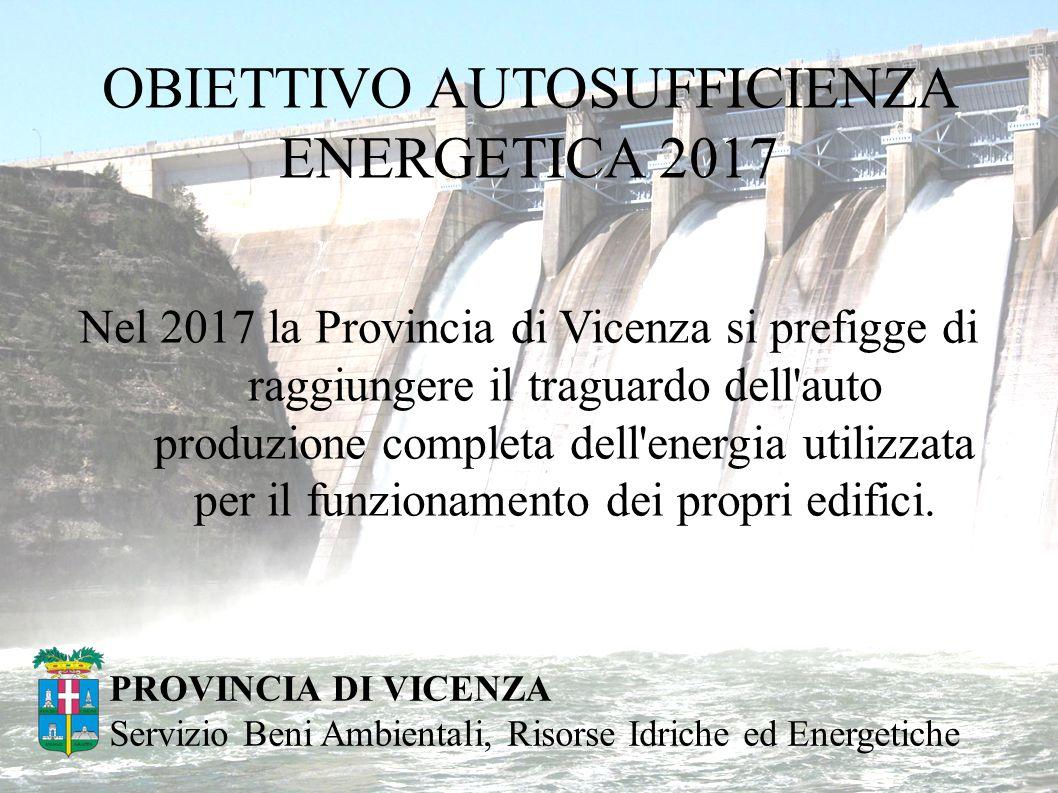 OBIETTIVO AUTOSUFFICIENZA ENERGETICA 2017 Nel 2017 la Provincia di Vicenza si prefigge di raggiungere il traguardo dell auto produzione completa dell energia utilizzata per il funzionamento dei propri edifici.