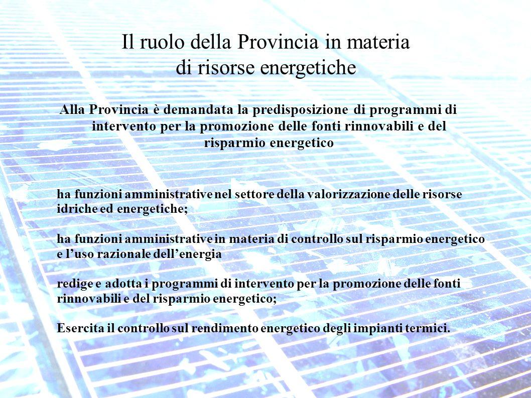 Il ruolo della Provincia in materia di risorse energetiche Alla Provincia è demandata la predisposizione di programmi di intervento per la promozione delle fonti rinnovabili e del risparmio energetico ha funzioni amministrative nel settore della valorizzazione delle risorse idriche ed energetiche; ha funzioni amministrative in materia di controllo sul risparmio energetico e luso razionale dellenergia redige e adotta i programmi di intervento per la promozione delle fonti rinnovabili e del risparmio energetico; Esercita il controllo sul rendimento energetico degli impianti termici.