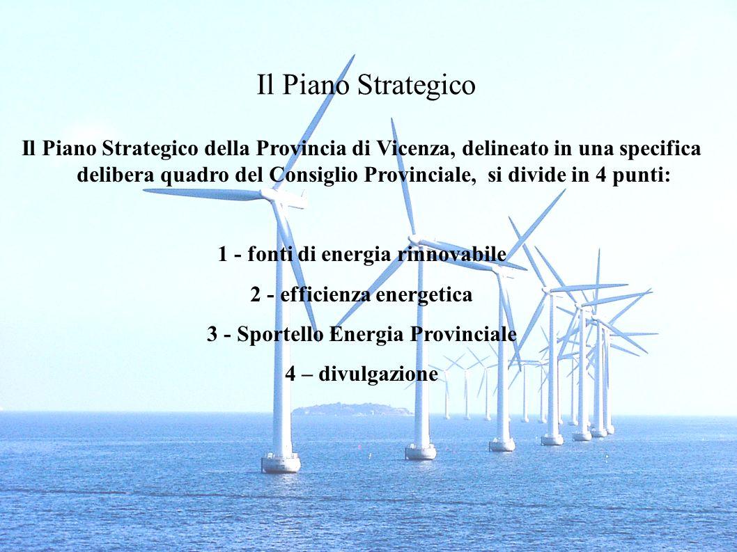 Il Piano Strategico Il Piano Strategico della Provincia di Vicenza, delineato in una specifica delibera quadro del Consiglio Provinciale, si divide in 4 punti: 1 - fonti di energia rinnovabile 2 - efficienza energetica 3 - Sportello Energia Provinciale 4 – divulgazione