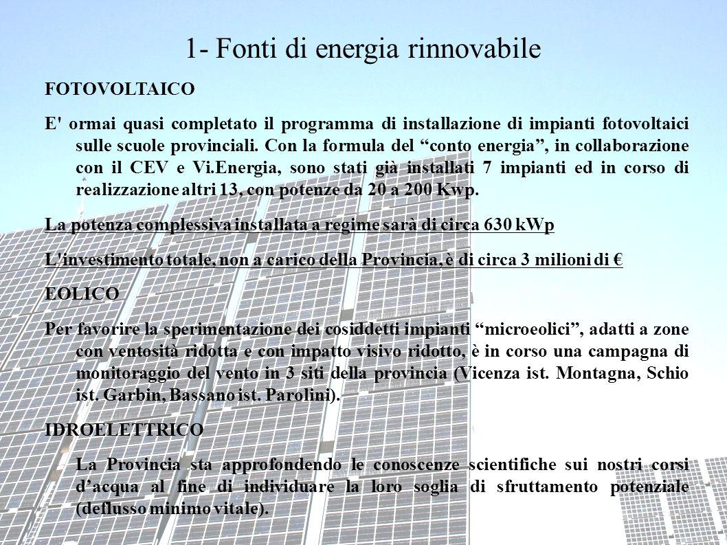 1- Fonti di energia rinnovabile FOTOVOLTAICO E ormai quasi completato il programma di installazione di impianti fotovoltaici sulle scuole provinciali.