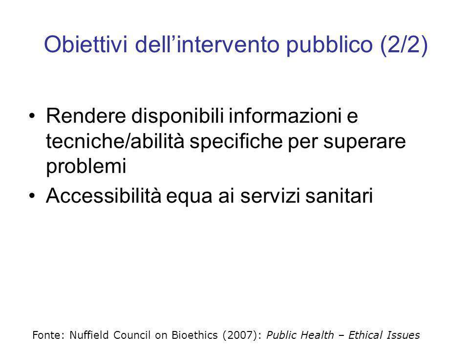 Obiettivi dellintervento pubblico (2/2) Rendere disponibili informazioni e tecniche/abilità specifiche per superare problemi Accessibilità equa ai ser