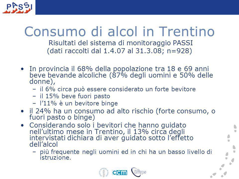 Consumo di alcol in Trentino Risultati del sistema di monitoraggio PASSI (dati raccolti dal 1.4.07 al 31.3.08; n=928) In provincia il 68% della popola