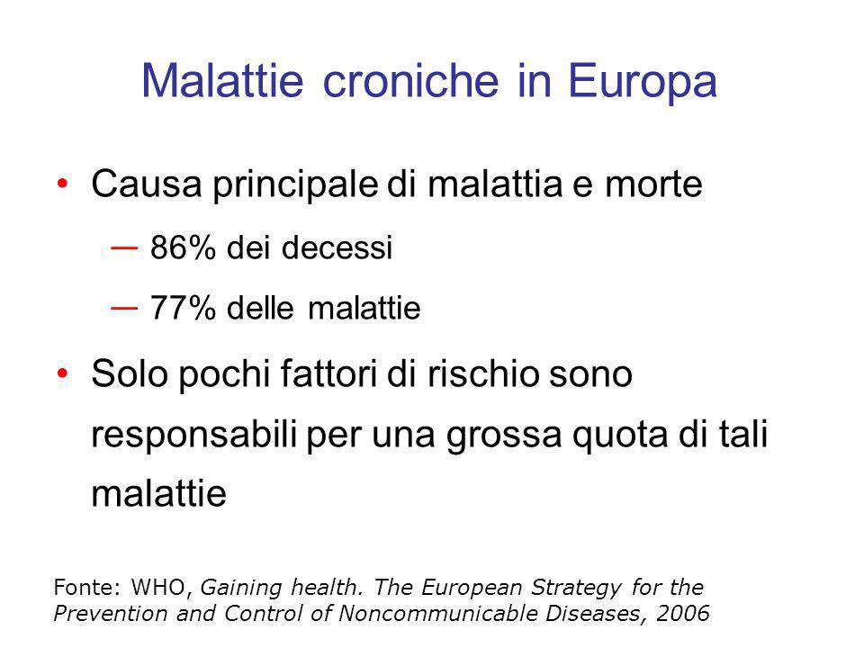 Primo esempio: fumo di tabacco Uno dei principali fattori di rischio per numerose patologie cronico- degenerative Il maggiore fattore di rischio evitabile di morte precoce