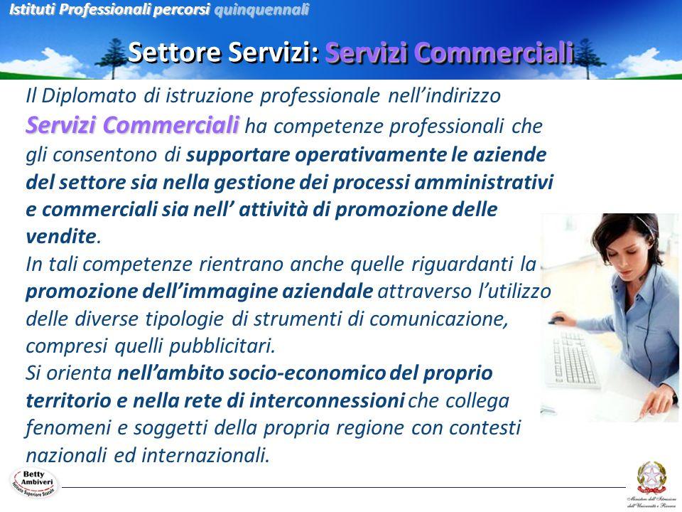 Servizi Commerciali Settore Servizi: Servizi Commerciali Servizi Commerciali Il Diplomato di istruzione professionale nellindirizzo Servizi Commercial