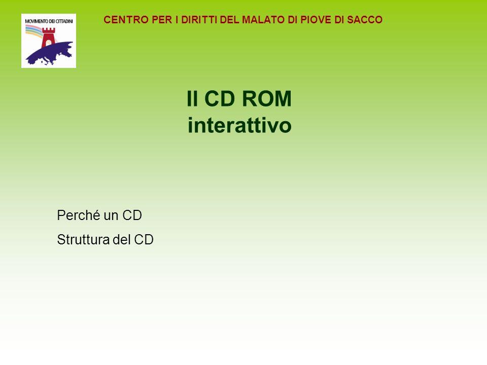 CENTRO PER I DIRITTI DEL MALATO DI PIOVE DI SACCO Il CD ROM interattivo Perché un CD Struttura del CD