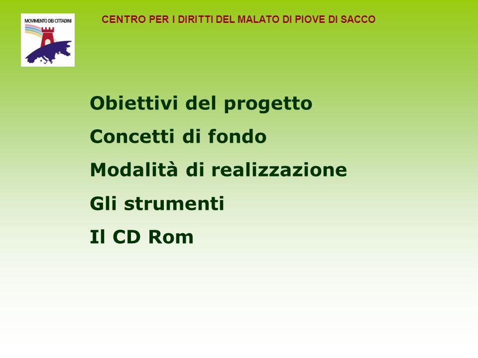 CENTRO PER I DIRITTI DEL MALATO DI PIOVE DI SACCO Obiettivi del progetto Concetti di fondo Modalità di realizzazione Gli strumenti Il CD Rom