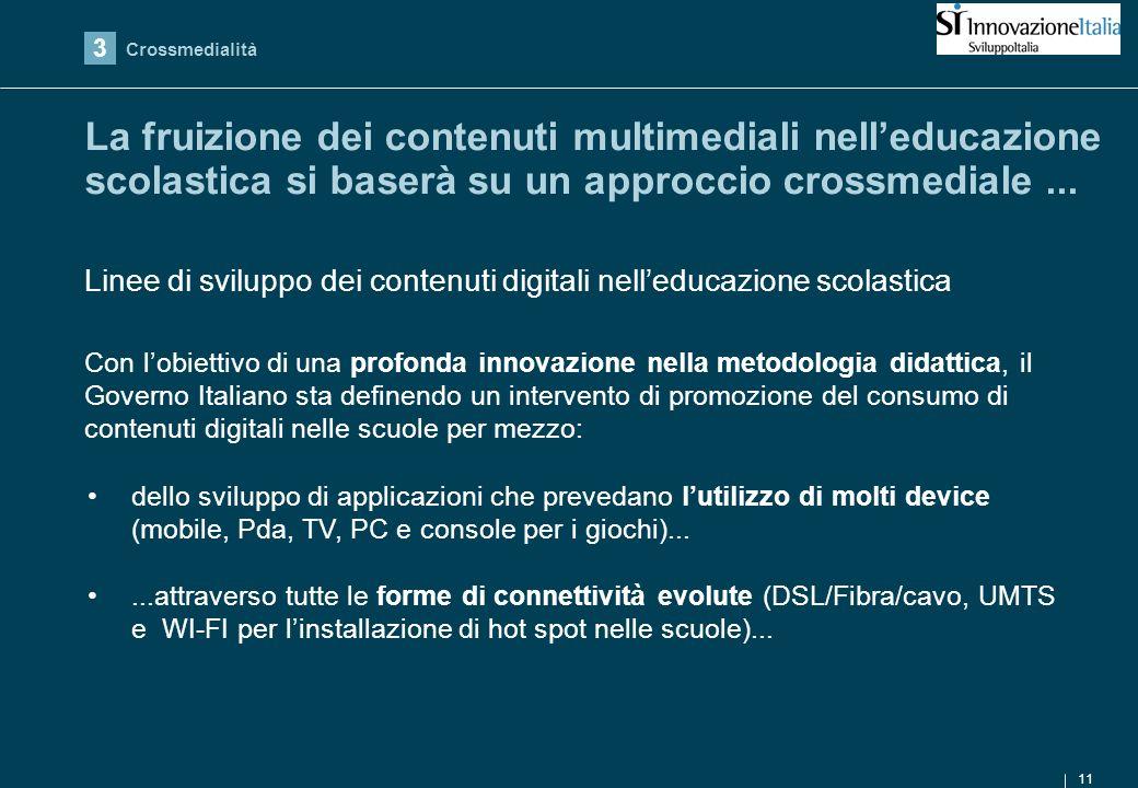 11 La fruizione dei contenuti multimediali nelleducazione scolastica si baserà su un approccio crossmediale...