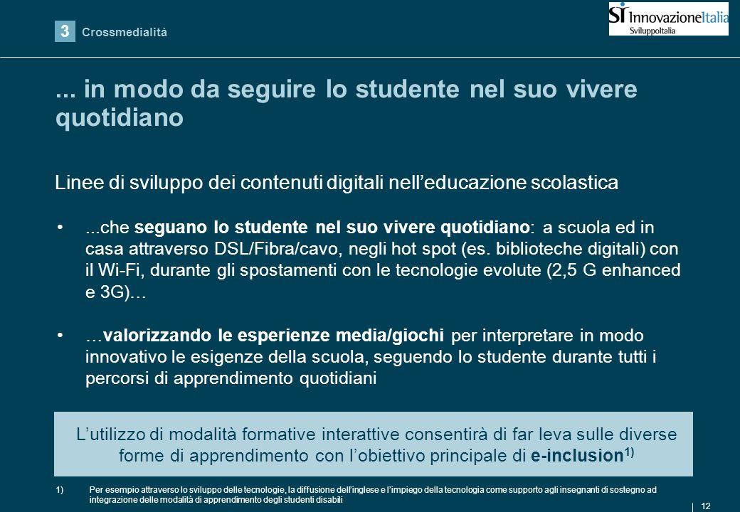 12...che seguano lo studente nel suo vivere quotidiano: a scuola ed in casa attraverso DSL/Fibra/cavo, negli hot spot (es.