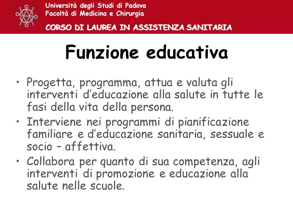 Università degli Studi di Padova Facoltà di Medicina e Chirurgia CORSO DI LAUREA IN ASSISTENZA SANITARIA Funzione educativa Progetta, programma, attua