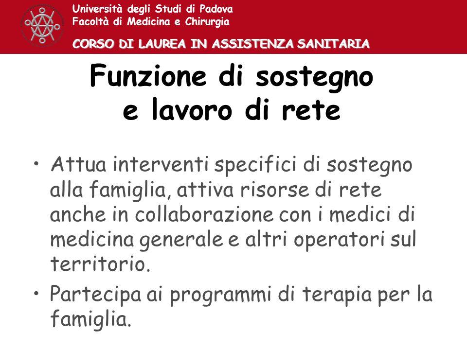 Università degli Studi di Padova Facoltà di Medicina e Chirurgia CORSO DI LAUREA IN ASSISTENZA SANITARIA Funzione di sostegno e lavoro di rete Attua i