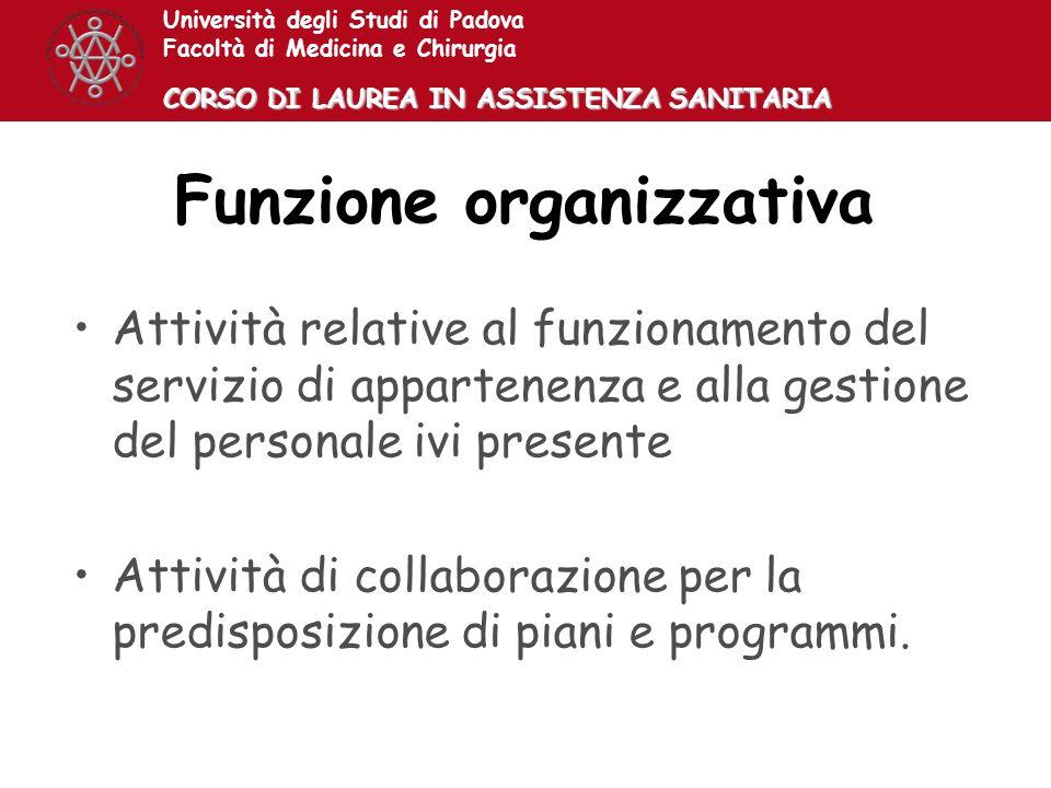 Università degli Studi di Padova Facoltà di Medicina e Chirurgia CORSO DI LAUREA IN ASSISTENZA SANITARIA Funzione organizzativa Attività relative al f