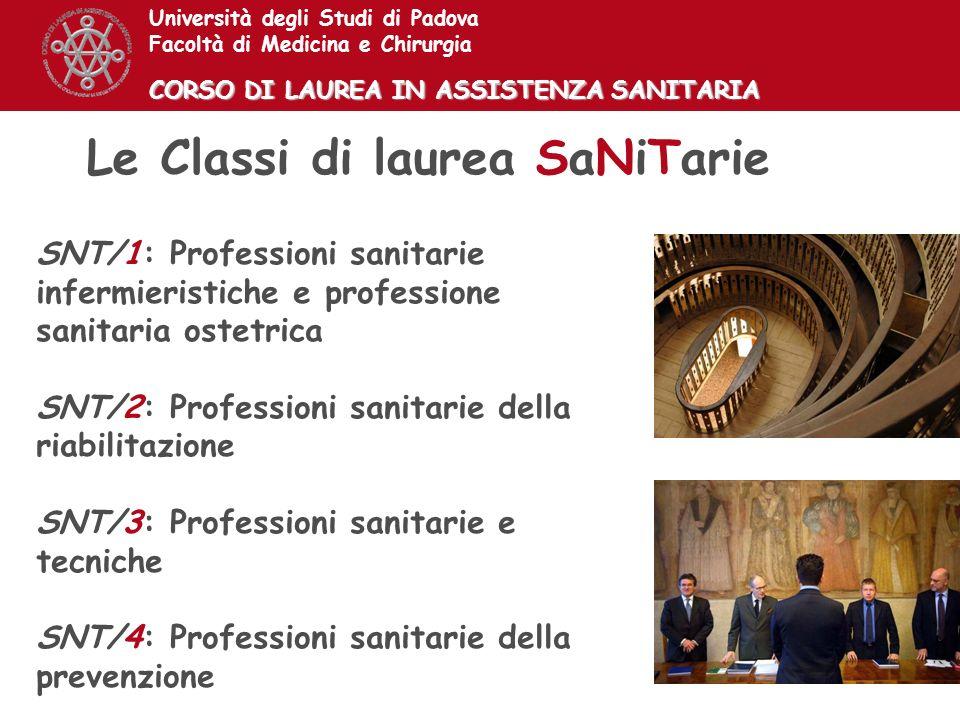 SNT/1: Professioni sanitarie infermieristiche e professione sanitaria ostetrica SNT/2: Professioni sanitarie della riabilitazione SNT/3: Professioni s