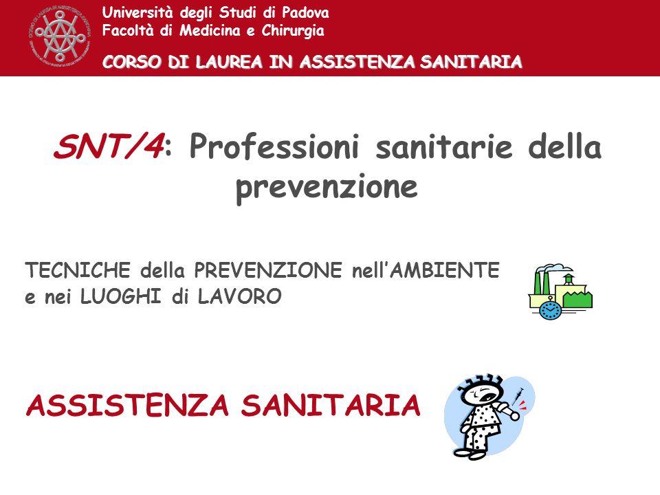 SNT/4: Professioni sanitarie della prevenzione TECNICHE della PREVENZIONE nellAMBIENTE e nei LUOGHI di LAVORO ASSISTENZA SANITARIA Università degli St
