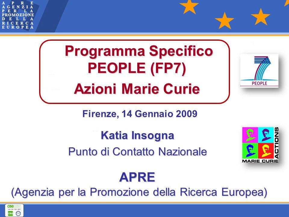 Firenze, 14 Gennaio 2009 Programma Specifico PEOPLE (FP7) Azioni Marie Curie APRE APRE (Agenzia per la Promozione della Ricerca Europea) Katia Insogna Punto di Contatto Nazionale