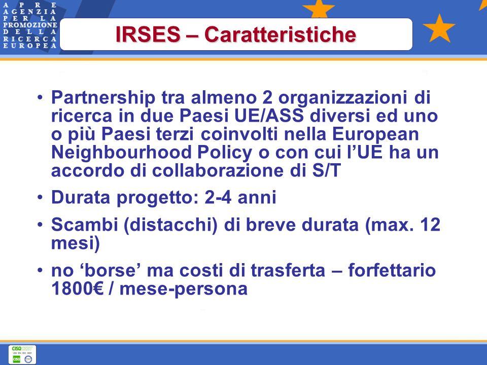 Partnership tra almeno 2 organizzazioni di ricerca in due Paesi UE/ASS diversi ed uno o più Paesi terzi coinvolti nella European Neighbourhood Policy o con cui lUE ha un accordo di collaborazione di S/T Durata progetto: 2-4 anni Scambi (distacchi) di breve durata (max.