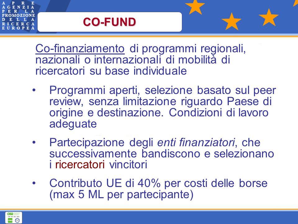 Co-finanziamento di programmi regionali, nazionali o internazionali di mobilità di ricercatori su base individuale Programmi aperti, selezione basato sul peer review, senza limitazione riguardo Paese di origine e destinazione.