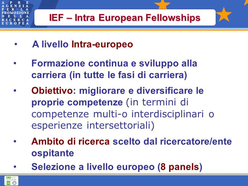 Selezione a livello europeo (8 panels) Obiettivo: migliorare e diversificare le proprie competenze (in termini di competenze multi-o interdisciplinari o esperienze intersettoriali) Formazione continua e sviluppo alla carriera (in tutte le fasi di carriera) A livello Intra-europeo IEF – Intra European Fellowships Ambito di ricerca scelto dal ricercatore/ente ospitante