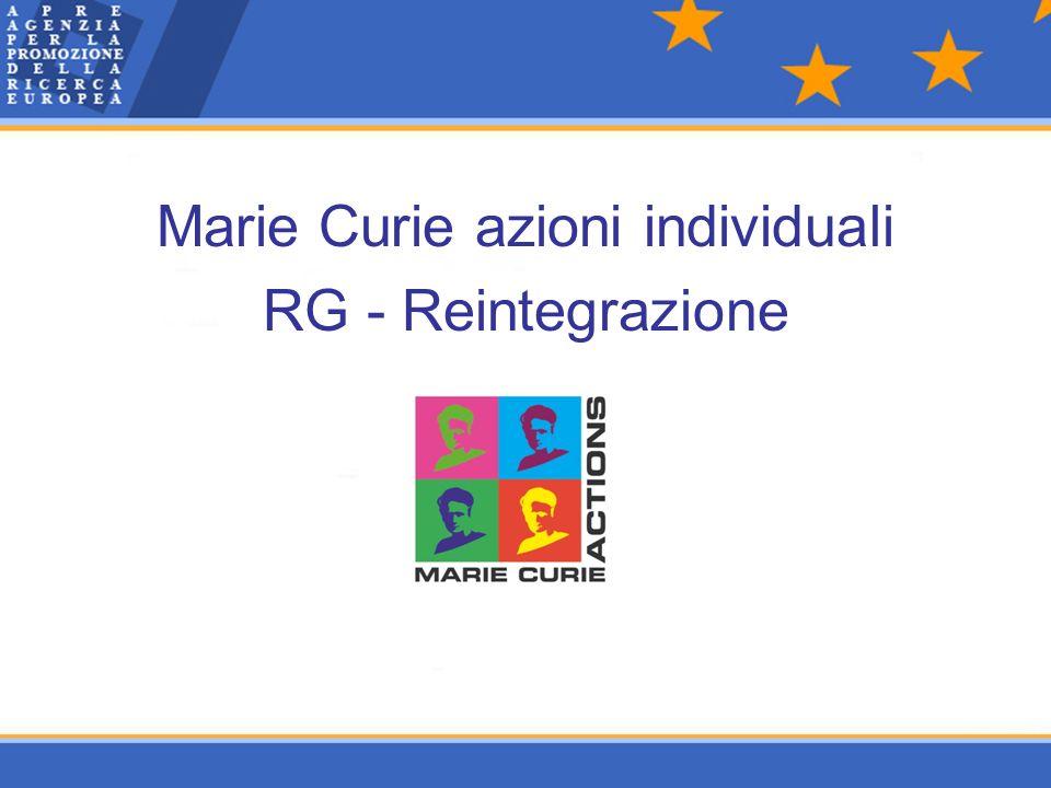 Marie Curie azioni individuali RG - Reintegrazione