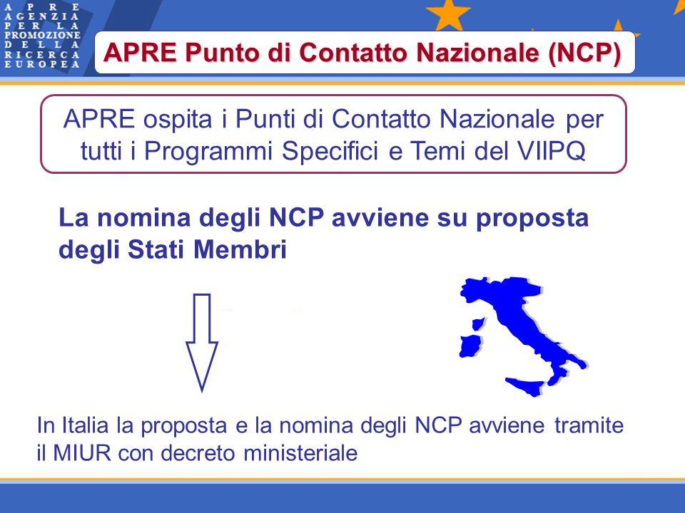 APRE Punto di Contatto Nazionale (NCP) La nomina degli NCP avviene su proposta degli Stati Membri In Italia la proposta e la nomina degli NCP avviene tramite il MIUR con decreto ministeriale APRE ospita i Punti di Contatto Nazionale per tutti i Programmi Specifici e Temi del VIIPQ