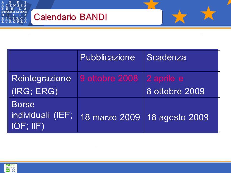 PubblicazioneScadenza Reintegrazione (IRG; ERG) 9 ottobre 20082 aprile e 8 ottobre 2009 Borse individuali (IEF; IOF; IIF) 18 marzo 200918 agosto 2009 Calendario BANDI