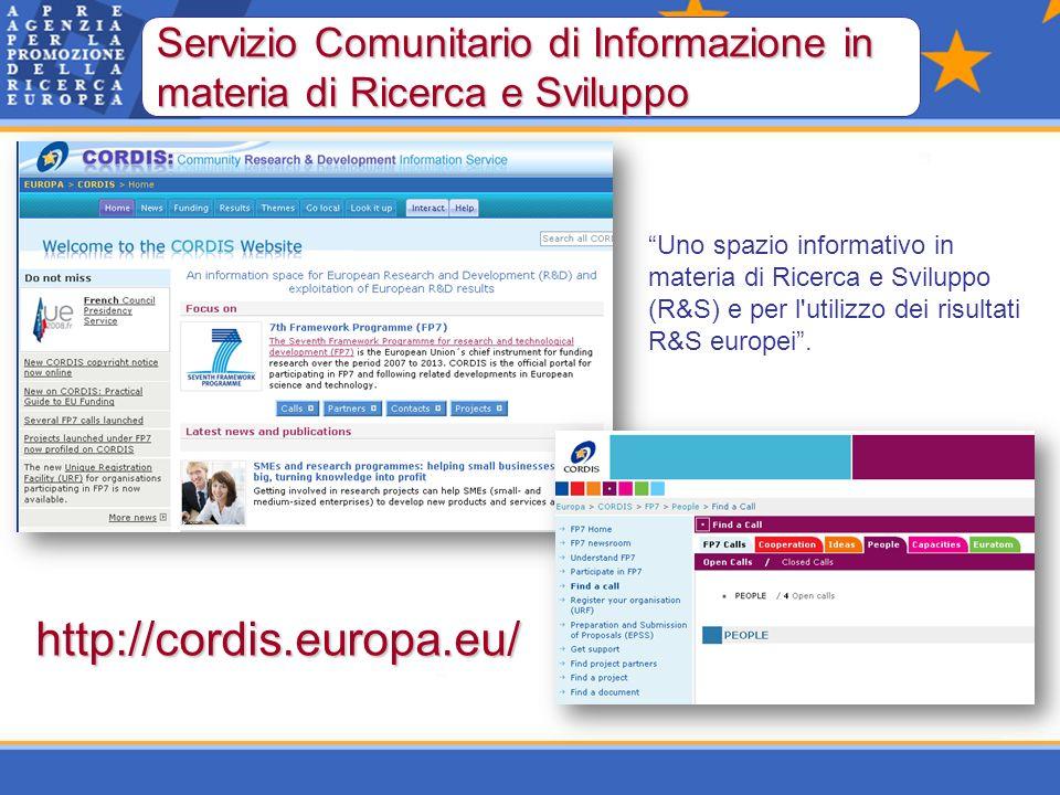 http://cordis.europa.eu/ Servizio Comunitario di Informazione in materia di Ricerca e Sviluppo Uno spazio informativo in materia di Ricerca e Sviluppo (R&S) e per l utilizzo dei risultati R&S europei.