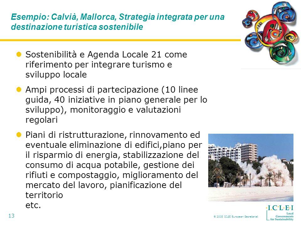2005 ICLEI European Secretariat 13 Esempio: Calvià, Mallorca, Strategia integrata per una destinazione turistica sostenibile Sostenibilità e Agenda Locale 21 come riferimento per integrare turismo e sviluppo locale Ampi processi di partecipazione (10 linee guida, 40 iniziative in piano generale per lo sviluppo), monitoraggio e valutazioni regolari Piani di ristrutturazione, rinnovamento ed eventuale eliminazione di edifici,piano per il risparmio di energia, stabilizzazione del consumo di acqua potabile, gestione dei rifiuti e compostaggio, miglioramento del mercato del lavoro, pianificazione del territorio etc.