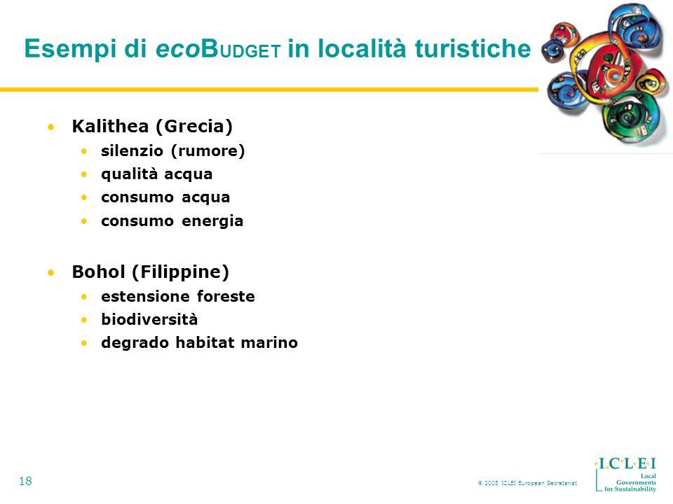 2005 ICLEI European Secretariat 18 Esempi di ecoB UDGET in località turistiche Kalithea (Grecia) silenzio (rumore) qualità acqua consumo acqua consumo energia Bohol (Filippine) estensione foreste biodiversità degrado habitat marino